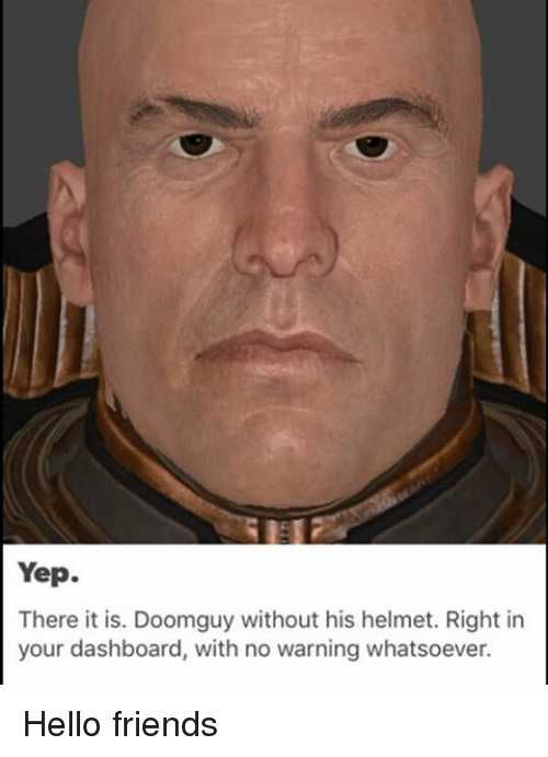 doom guy without helmet
