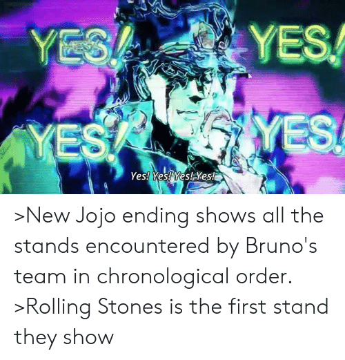YES >New Jojo Ending Shows All the Stands Encountered by Bruno's