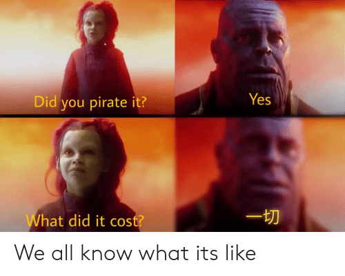 Pirate, Yes, and Did: Yes  Did you pirate it?  hat did it cost? We all know what its like
