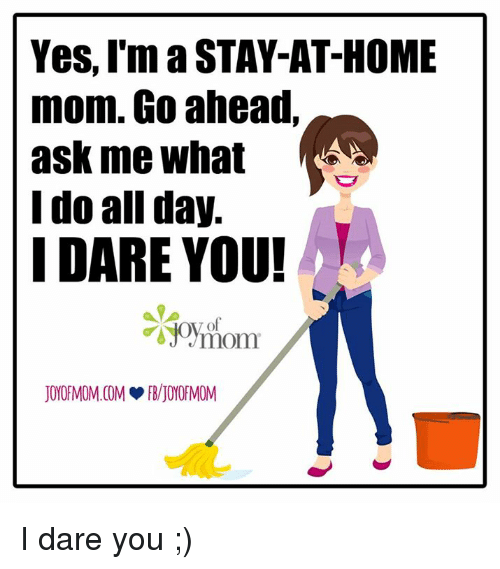 Memes, Moms, and Home: Yes, I'm a STAY-AT-HOME  mom. Go ahead,  ask me what  I do all day.  I DARE YOU! I dare you ;)
