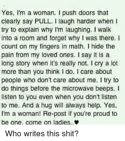 Shit Say It and Help Yes Iu0027m a woman.  sc 1 st  Me.me & Yes Iu0027m a Woman I Push Doors That Clearly Say PULL Laugh Harder ... pezcame.com