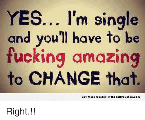 Yes Im Single And Youll Have To Be Fucking Amazing To Change That