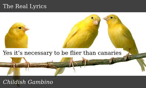 SIZZLE: Yes it's necessary to be flier than canaries