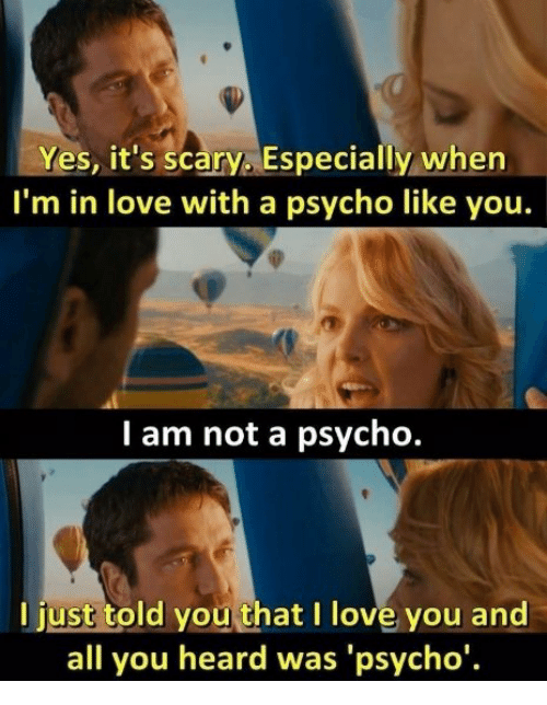 Love, Memes, and I Love You: Yes, it's scary Especially when  I'm in love with a psycho like you.  I am not a psycho.  I just told you that I love you and  all you heard was 'psycho'.