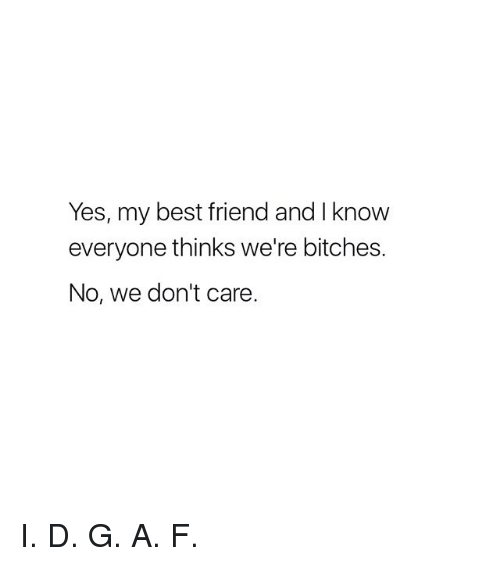 Best Friend, Best, and Girl Memes: Yes, my best friend and I know  everyone thinks we're bitches.  No, we don't care. I. D. G. A. F.