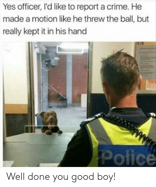 Crime, Police, and Good: Yes officer, I'd like to report a crime. He  made a motion like he threw the ball, but  really kept it in his hand  Police Well done you good boy!