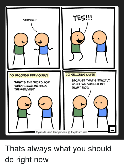 Cyanide and Happiness, Suicide, and Word: YES!!!  SUICIDE?  10 SECONDS PREVIOUSLY  20 SECONDS LATER  WHATS THE WORD FOR  WHEN SOMEONE KILLS  THEMSELVES?  BECAUSE THAT'S EXACTLY  WHAT WE SHOULD DO  RIGHT NOW  Cyanide and Happiness ⓒ Explosm.net.-