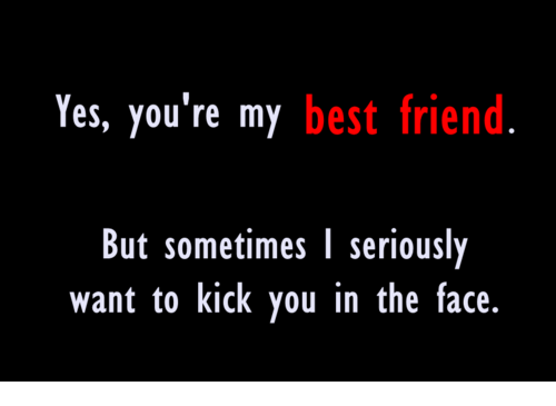 yes youre my best friend but sometimes l seriously want 23560733 yes you're my best friend but sometimes l seriously want to kick you