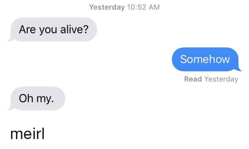 Alive, MeIRL, and Yesterday: Yesterday 10:52 AM  Are you alive?  Somehovw  Read Yesterday  Oh my. meirl