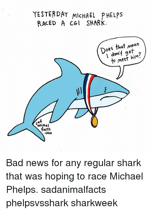 Bad, Facts, and Memes: YESTERDAY MicHAEL PHELPS  RACED A col SHARk.  Does that mean  dnt in  Do do if g  l dmf geit  to meef him?  Sa  animal  facts  com Bad news for any regular shark that was hoping to race Michael Phelps. sadanimalfacts phelpsvsshark sharkweek