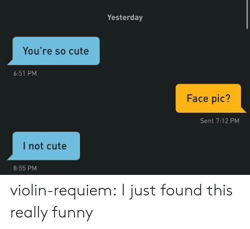 Cute, Funny, and Tumblr: Yesterday  You're so cute  6:51 PM  Face pic?  Sent 7:12 PM  I not cute  8:55 PM violin-requiem: I just found this really funny