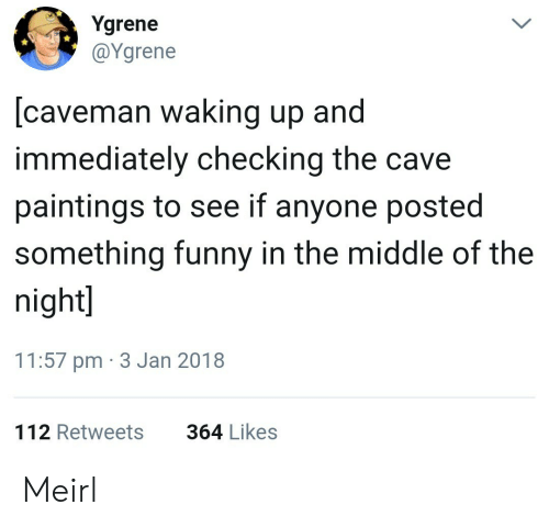 Funny, Paintings, and The Middle: Ygrene  @Ygrene  [caveman waking up and  immediately checking the cave  paintings to see if anyone posted  something funny in the middle of the  night  11:57 pm 3 Jan 2018  112 Retweets  364 Likes Meirl