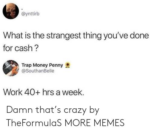 Crazy, Dank, and Memes: @ynttirb  What is the strangest thing you've done  for cash?  Trap Money Penny  @SouthanBelle  Work 40+ hrs a week. Damn that's crazy by TheFormulaS MORE MEMES