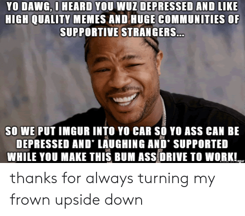 Ass, Memes, and Yo: YO DAWG, O HEARD YOU WUZ DEPRESSED AND LIKE  HIGH QUALITY MEMES AND HUGE COMMUNITIES OF  SUPPORTIVE STRANGERS...  SO WE PUT IMGUR INTO YO CAR SO YO ASS CAN BE  DEPRESSED AND LAUGHING AND' SUPPORTED  WHILE YOU MAKE THIS BUM ASS DRIVE TO WORK!  ngur thanks for always turning my frown upside down