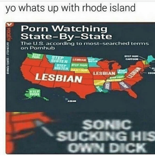 Pornhub, Yo, and Dick: yo whats up with rhode island  Porn Watching  State-By-State  The U.S. according to most-searched terms  on Pornhub  LESBIAN  LESBIAN  SONIC  SUCKING HIS  OWN DICK