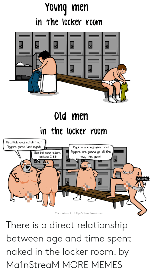Dank, Memes, and Target: Yong men  in rhe locker room  Old men  in rhe locker room  Hey Rick. you catch that  Piggers game last night  Piggers are number one!  Hou bet your elderlys are gonna go a  all the  testicles I didiı  The Oatmeal http//theoatmeal.com There is a direct relationship between age and time spent naked in the locker room. by Ma1nStreaM MORE MEMES