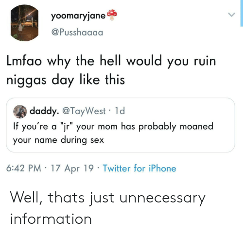 """Iphone, Sex, and Twitter: yoomaryjane  @Pusshaaaa  Lmfao why the hell would you ruin  niggas day like this  daddy. @TayWest 1d  If you're a """"jr"""" your mom has probably moaned  your name during sex  6:42 PM 17 Apr 19 Twitter for iPhone Well, thats just unnecessary information"""