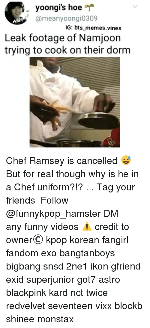 Friends, Funny, and Hoe: yoongi's hoe  @meanyoongi0309  IG: bts memes.vines  Leak footage of Namjoon  trying to cook on their dorm Chef Ramsey is cancelled 😅 But for real though why is he in a Chef uniform?!? . . 》Tag your friends 》》 Follow @funnykpop_hamster 》》》DM any funny videos ⚠ credit to owner© kpop korean fangirl fandom exo bangtanboys bigbang snsd 2ne1 ikon gfriend exid superjunior got7 astro blackpink kard nct twice redvelvet seventeen vixx blockb shinee monstax