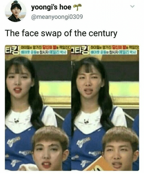 Hoe, Face Swap, and Face: yoongi's hoe  @meanyoongi0309  The face swap of the century  타