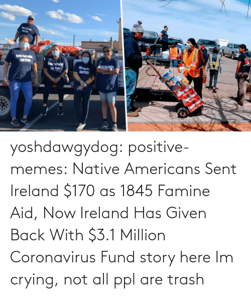 Crying, Gif, and Memes: yoshdawgydog:  positive-memes:    Native Americans Sent Ireland $170 as 1845 Famine Aid, Now Ireland Has Given Back With $3.1 Million Coronavirus Fund  story here   Im crying, not all ppl are trash