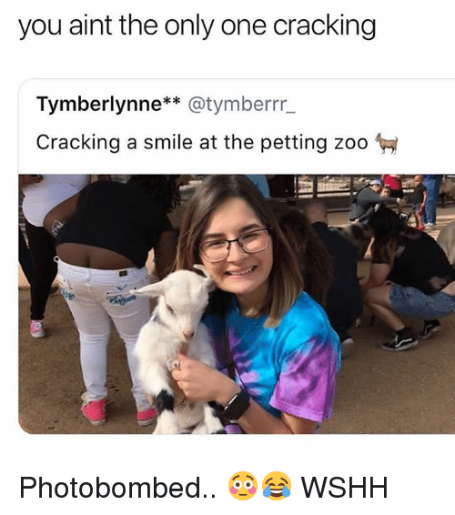 Memes, Wshh, and Smile: you aint the only one cracking  Tymberlynne* @tymberrr  Cracking a smile at the petting zoo  te Photobombed.. 😳😂 WSHH