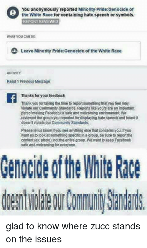 You Anonymously Reported Minorty Pridegenocide Ot The Whiterace For