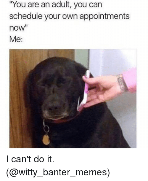 """Memes, 🤖, and Witty: """"You are an adult, you can  schedule your own appointments  now""""  Me: I can't do it. (@witty_banter_memes)"""