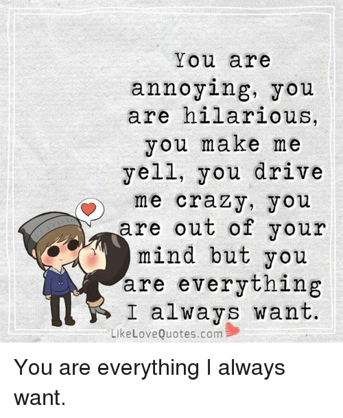 Crazy Love Quotes Extraordinary You Are Annoying You Are Hilarious You Make Me Yell You Drive Me