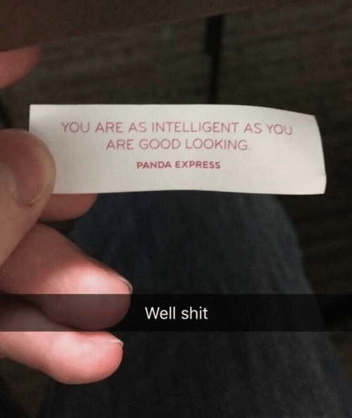 Shit, Panda, and Express: YOU ARE AS INTELLIGENT AS YOU  ARE GOOD LOOKING.  PANDA EXPRESS  Well shit