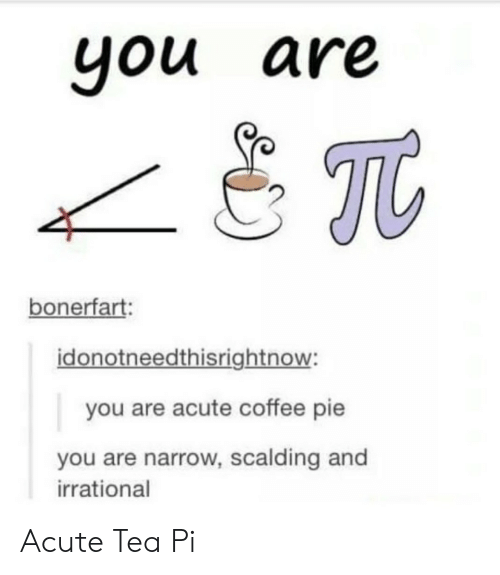 Coffee, Tea, and Pie: you are  bonerfart:  idonotneedthisrightnow:  you are acute coffee pie  you are narrow, scalding and  irrational Acute Tea Pi