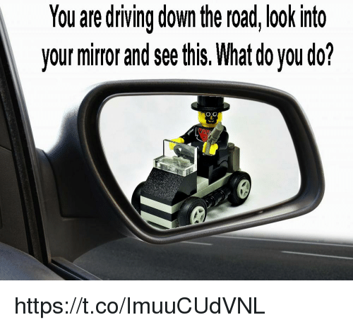 Driving, Mirror, and The Road: You are driving down the road, look into  your mirror and see this. What do you do? https://t.co/ImuuCUdVNL