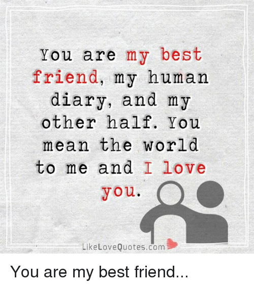 I Love You Bestfriend Quotes Fascinating You Are My Best Friend My Human Diary And My Other Half You Mean