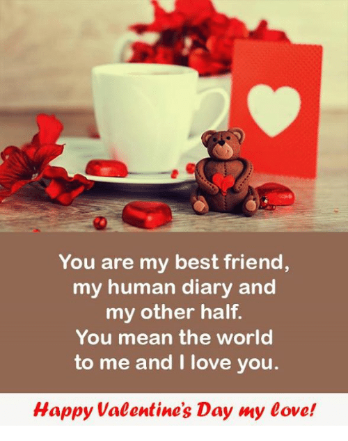 Best Friend, Love, and Valentine's Day: You are my best friend,  my human diary and  my other half.  You mean the world  to me and I love you  Happy Valentine's Day my eove!