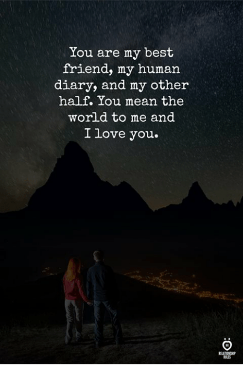 Best Friend, Love, and I Love You: You are my best  friend, my human  diary, and my other  half. You mean the  world to me and  I love you.
