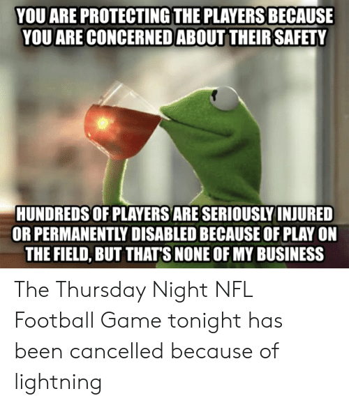 Football, Nfl, and Business: YOU ARE PROTECTING THE PLAYERS BECAUSE  YOU ARE CONCERNED ABOUT THEIR SAFETY  HUNDREDS OF PLAYERS ARE SERIOUSLY INJURED  OR PERMANENTLY DISABLED BECAUSE OF PLAY ON  THE FIELD, BUT THATS NONE OF MY BUSINESS The Thursday Night NFL Football Game tonight has been cancelled because of lightning