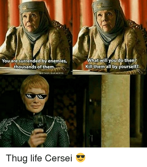 Life, Memes, and Thug: You are surrended by enemies,  thousands of them.  MOTHER DAENERYS  What will you do then?  Kill them all by yourself? Thug life Cersei 😎