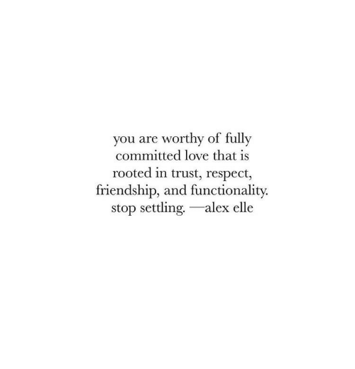 Love, Respect, and Friendship: you are worthy of fully  committed love that is  rooted in trust, respect,  friendship, and functionality.  stop settling.-alex elle