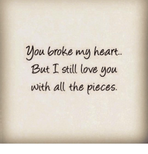 You Broke My Heart But I Still Love You With All The Pieces Meme