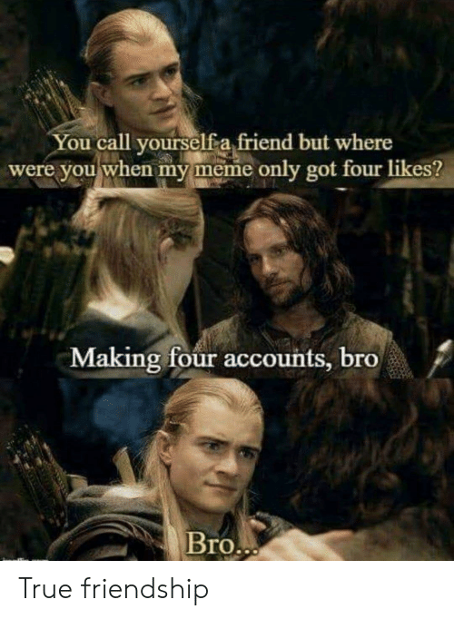 Meme, True, and Friendship: You call vourselfa friend but where  were you when my meme only got four likes?  Making four accounts, bro  /  Bro True friendship