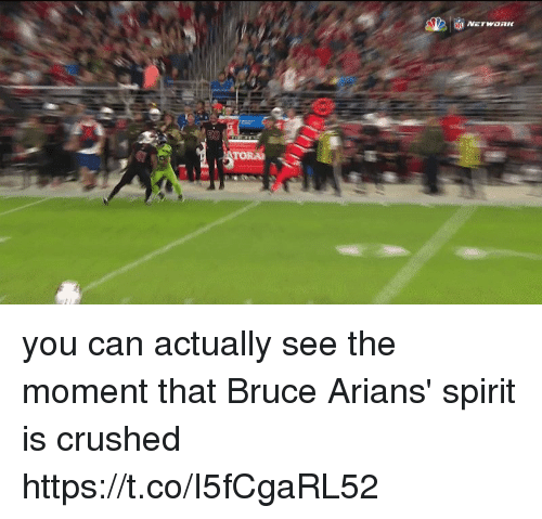 Nfl, Spirit, and Can: you can actually see the moment that Bruce Arians' spirit is crushed  https://t.co/I5fCgaRL52