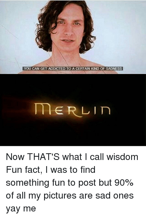 You Can Get Addicted To A Certain Kind Of Sadness Merlin Now That S What I Call Wisdom Fun Fact I Was To Find Something Fun To Post But 90 Of All My Friday happy dog memes tgif cute dogs meme yay puppy funny animal its animals weekend relatably pup fun. certain kind of sadness merlin