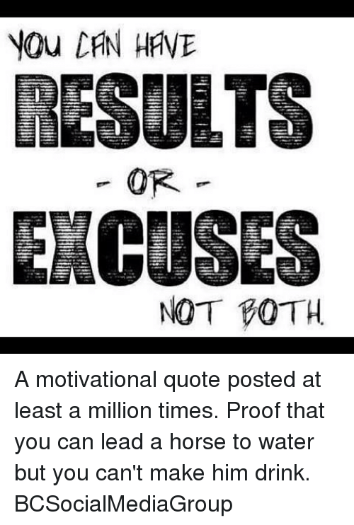 You Can Have Results Or Excuses Not Coth A Motivational Quote Posted