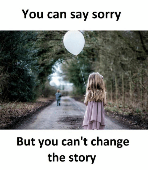 Sorry, Change, and Can: You can say sorry  But you can't change  the story