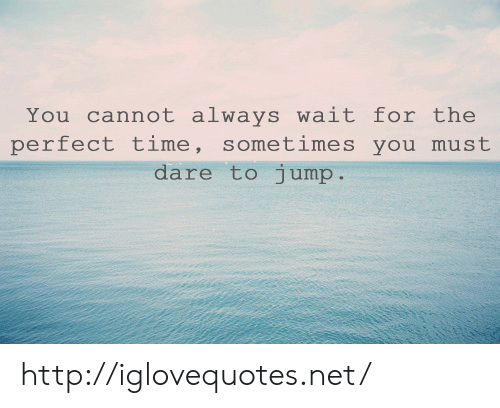 Http, Time, and Net: You cannot always wait for the  perfect time, sometimes you must  dare to iump http://iglovequotes.net/
