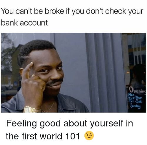 Being Broke, Memes, and 🤖: You can't be broke if you don't check your  bank account  Penino Feeling good about yourself in the first world 101 😉