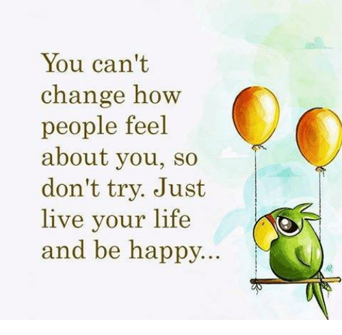 Life, Memes, and Happy: You can't  chang Kw  people feel  about you, so  don't try. Just  live your life  and be happy...