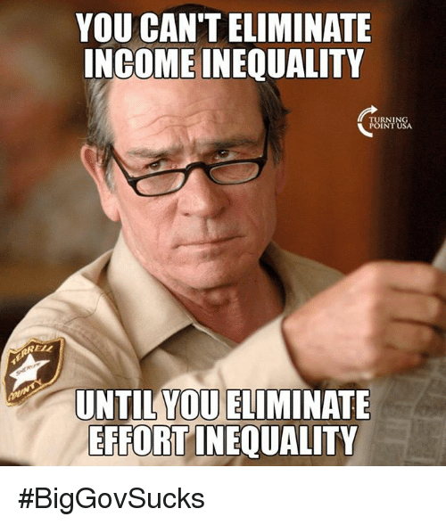 Memes, 🤖, and Usa: YOU CAN'T ELIMINATE  INGOME INEQUALITY  TURNING  POINT USA  RELL  YOU ELIMINATE  UNTIL  EFFORT INEQUALITY #BigGovSucks