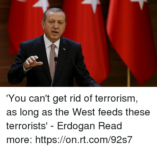 Dank, Terrorism, and 🤖: 'You can't get rid of terrorism, as long as the West feeds these terrorists' - Erdogan  Read more: https://on.rt.com/92s7