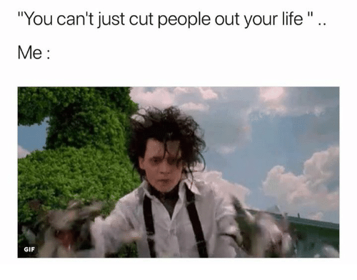 You Cant Just Cut People Out Your Life Me Gif Gif Meme On Meme