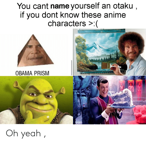 Anime, Obama, and Yeah: You cant name yourself an otaku ,  if you dont know these anime  characters  OBAMA PRISM Oh yeah ,